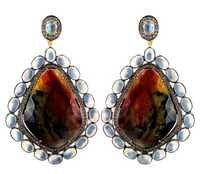 Gold Moonstone Multi Sapphire Gemstone Earrings