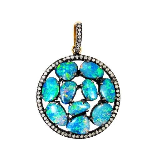 Opal Gemstone Diamond Pendant Jewelry
