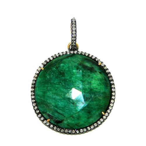 Diamond Pave Emerald Gemstone Pendant
