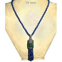 Blue Sapphire Emerald Diamond Tassel Pendant