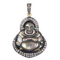 Laughing Buddha Pearl Silver Diamond Pendant