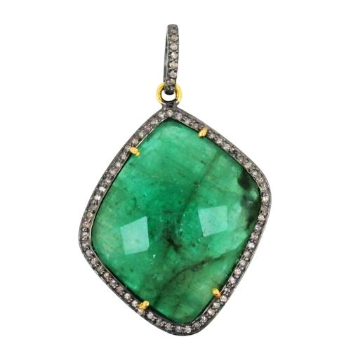 Precious Emerald Gemstone Diamond Pendant