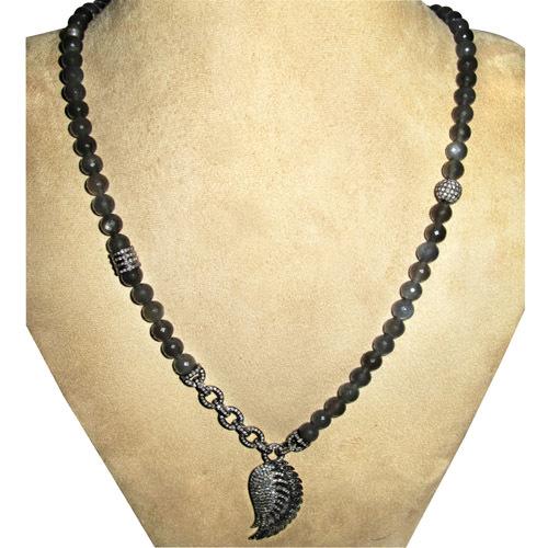 Angel Wings Diamond Moonstone Beaded Necklace