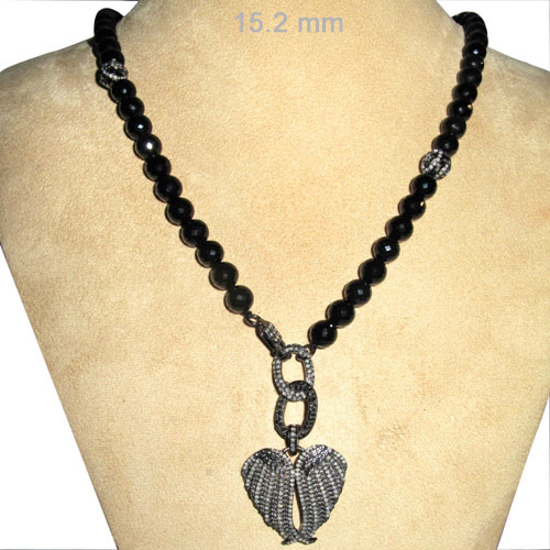 Silver Diamond Wings Onyx Gemstone Necklace