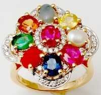 Emerald ruby sapphire hessonite diamond pearl coral cats eye gold ring