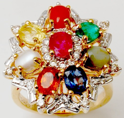 Exclusive multi stone real gold ring from India