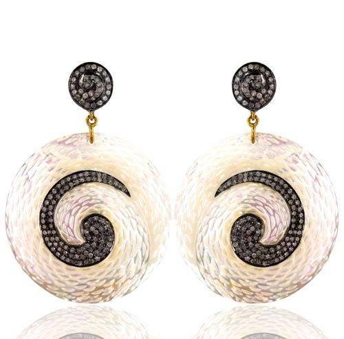 Mother Of Pearl Diamond Fashionable Dangle Earrings