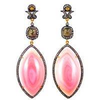 Conch Pearl Diamond Dangle Gold Earrings