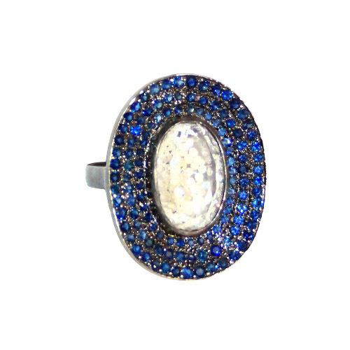 Blue Sapphire Crystal Silver Diamond Ladies Ring