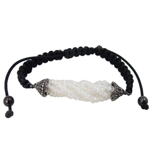 Diamond Moonstone Beaded Macrame Bracelet