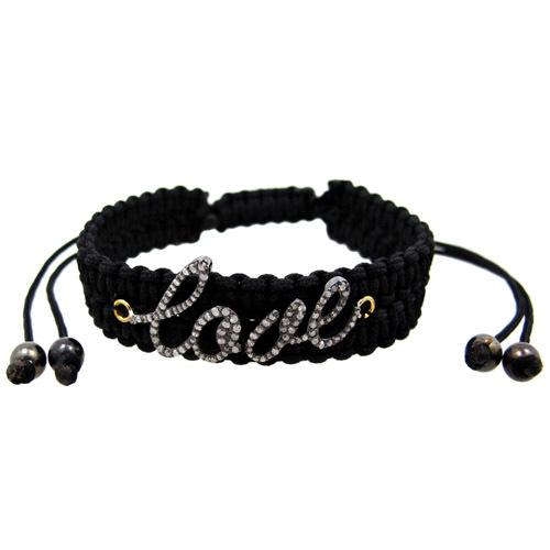 Pave Diamond Love Macrame Bracelet