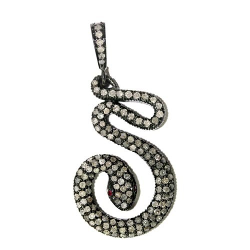Fashionable Diamond Ruby Snake Silver Pendant