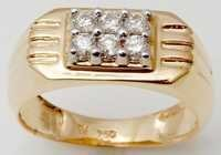Small diamonds studded gold ring for men