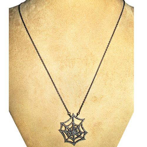 Spider Web Silver Pave Diamond Necklace Jewelry
