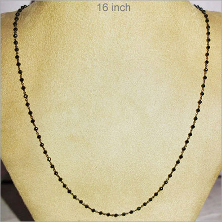Black Spinel Sterling Silver Chain Necklace