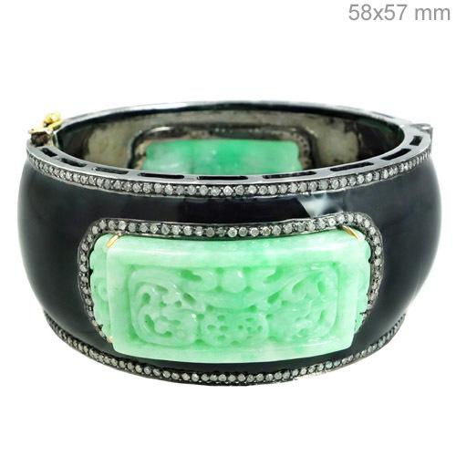 Carved Designer Diamond Black Enamel Fashionable Bangle