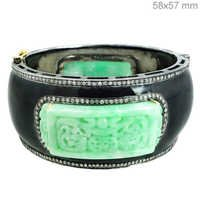 Carved Designer Diamond Black Enamel Fashionable Bangle