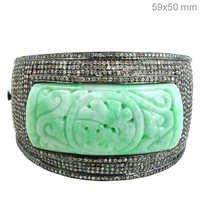 Pave Diamond Jade Carving Cuff Bracelet