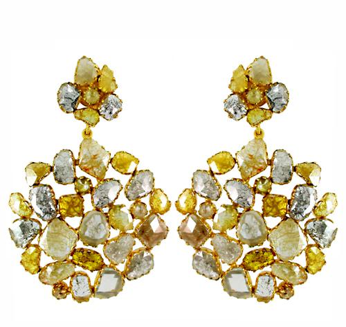 Gold Natural Diamond Earrings