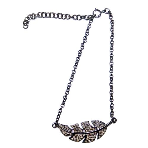 Silver Chain Leaf Pave Diamond Bracelet