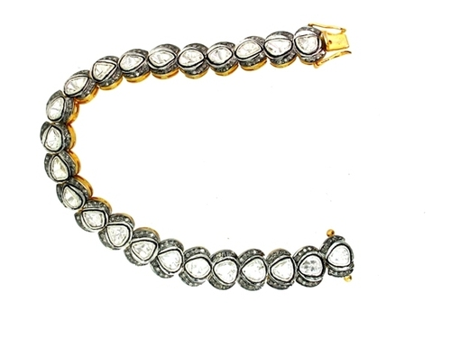 14k Yellow Gold Rose Cut Diamond Bracelet