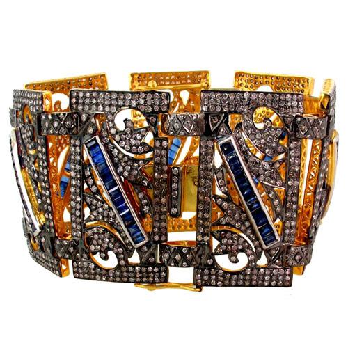 Blue Sapphire Pave Diamond Bracelet