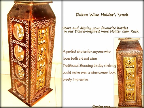 Wooden Wine Holder with Dokra art