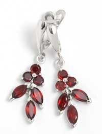 drop silver earrings with gemstones for girl, sround and marquise garnet studded earring design