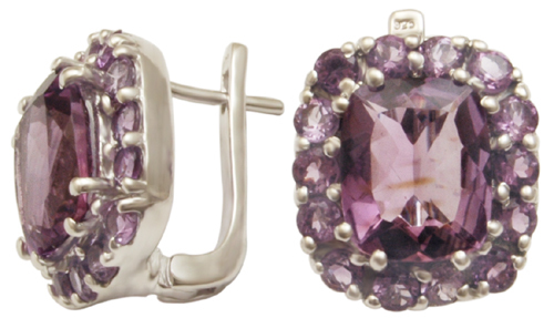 indian silver jewellery manufacturer, cushion cut brazil amethyst silver earring