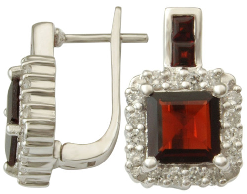 indian jewellery wholesale supplier, princess cut garnet and cz earring for sale