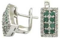 emerald jewelry earrings with silver and cz, latest design silver earring
