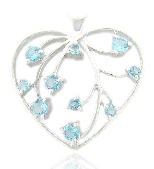 silver pendant wholesale supplier from india, blue topaz heart pendant for girls