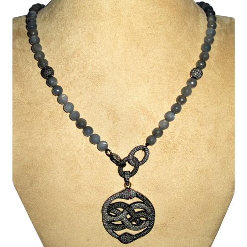 Snake Diamond Pave Moonstone Beaded Necklace