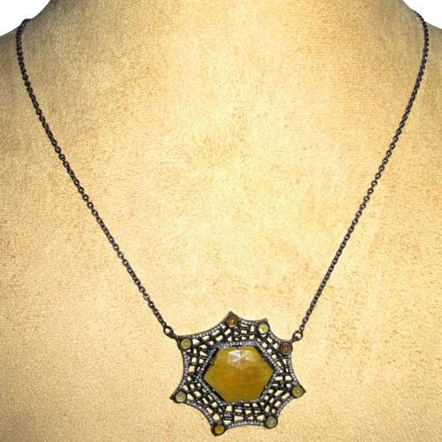 Spider Web Diamond Gemstone Necklace Jewelry