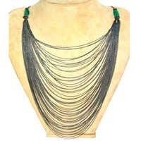 Emerald Multi Layer Silver Chain Diamond Necklace