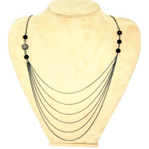 Black Onyx Silver Diamond Layer Necklace Jewelry