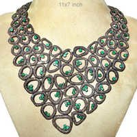 Emerald Diamond Gold Collar Necklace Jewelry