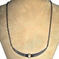 Diamond Pave Half Moon Gemstone Necklace Jewelry
