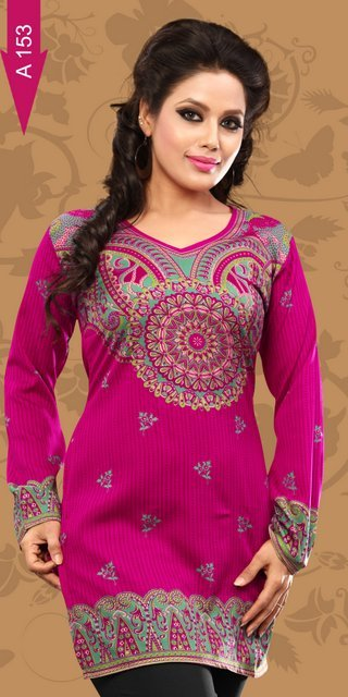 printed Crepe kurti Suppliers