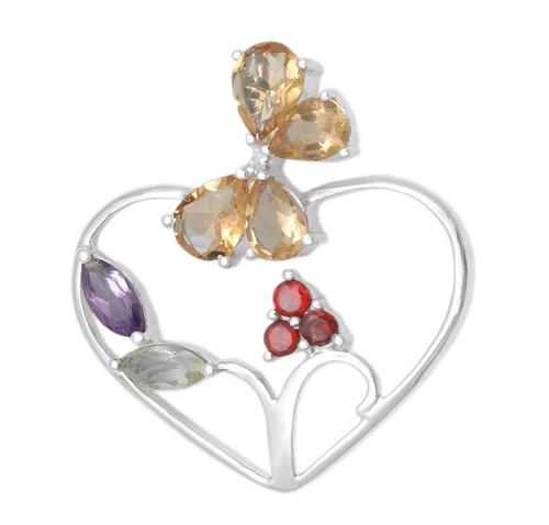 R Heart Design Gemstone Silver Pendant