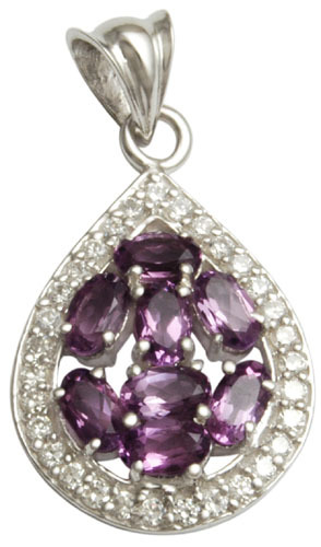 cz and amethyst pendant in drop style for womens, anniversary gift idea as beautiful silver jewelry