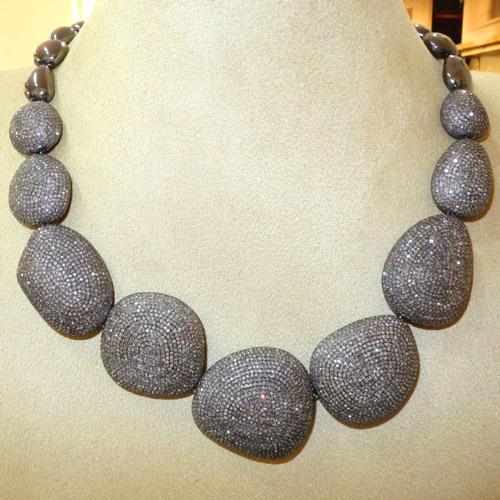 Pave Diamond Beaded Necklace Jewelry