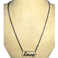 Crystal Love Silver Pave Diamond Necklace Jewelry