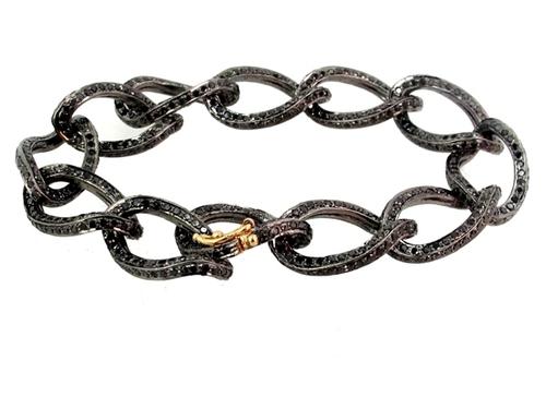Black Diamond Link Silver Gold Fashion Bracelet
