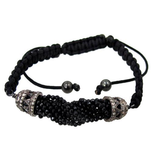 Onyx Beads Diamond Macrame Bracelet