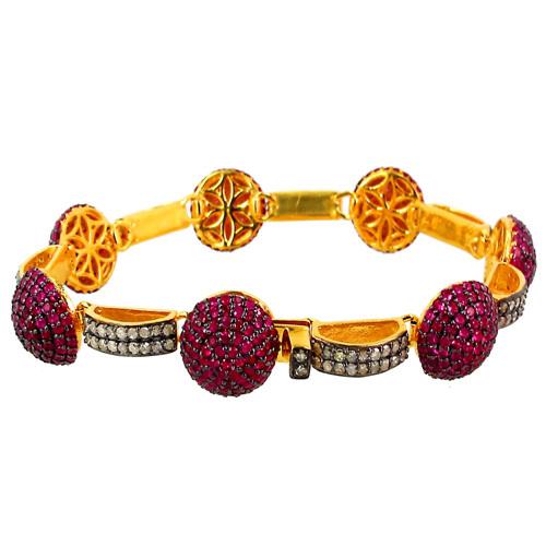 Designer Gold Diamond Ruby Gemstone Bracelet