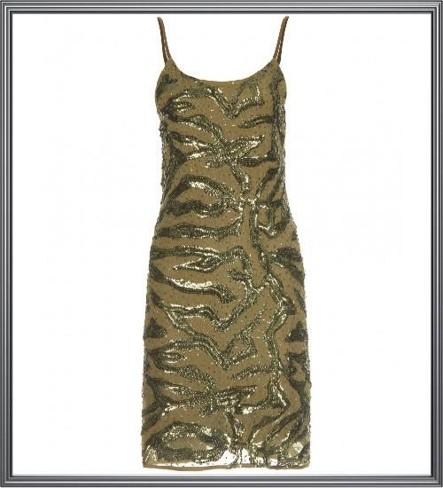 Gold Beaded Evening Dress