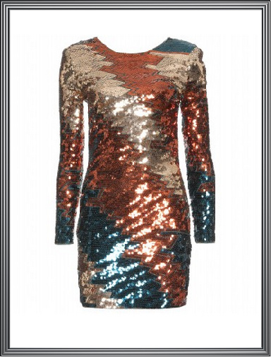 Multi Colour Sequin Evening Dress