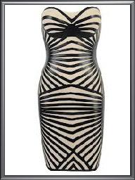 Ladies Strap Back Monochrome Stripe Print Dress