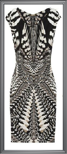 Womens Monochrome Geometric Printed Dress